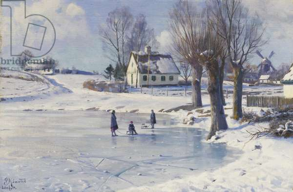 Sledging on a Frozen Pond, (oil on canvas)