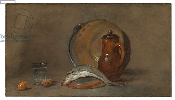 Still Life with Fish and a Copper Pot (oil on canvas)