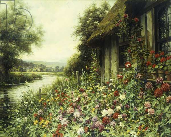 Flowers in Bloom Outside a Cottage (oil on canvas)