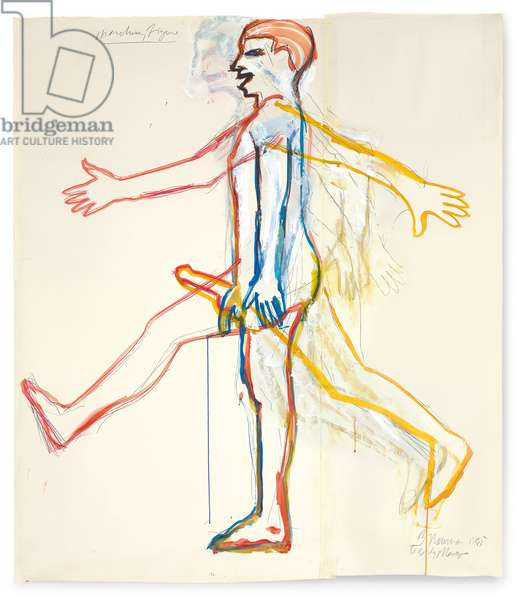 Marching Figure, 1985 (coloured pencil, graphite, gouache and watercolour on two joined sheets of paper)