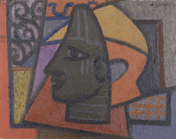 Design with Benin Head,  (oil on paper laid on board)