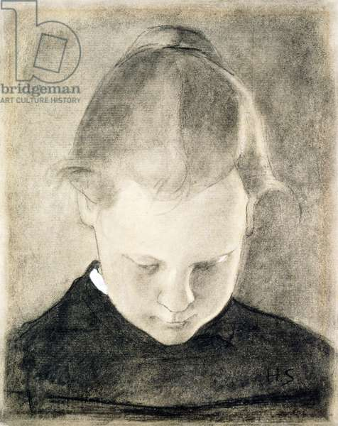 The Reading Girl, c.1905 (charcoal & gouache on paper)