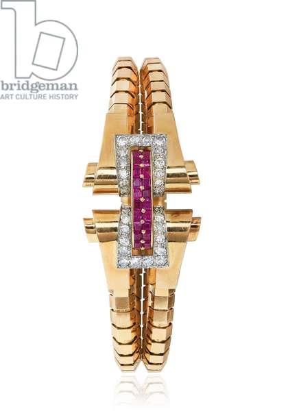 Retro ruby and diamond bracelet and earring set