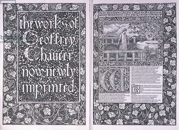 Title page and opening page from the Kelmscott Press edition of 'The Works of Geoffrey Chaucer', 1896 (woodcut on vellum)