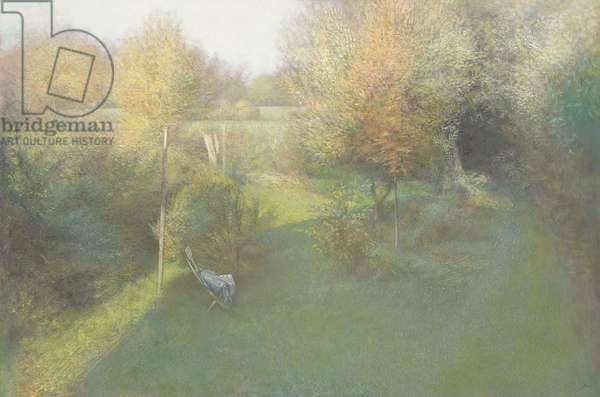 Shaded Garden (tempera on paper laid on board)