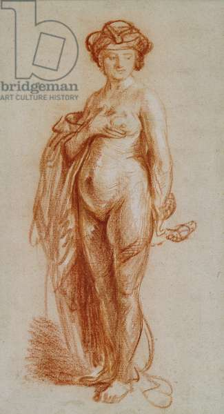 Study of a nude woman as Cleopatra (drawing)