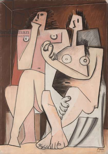 Man and Woman; Homme et femme, 1921 (pastel, oil pastel, charcoal and black crayon on paper)