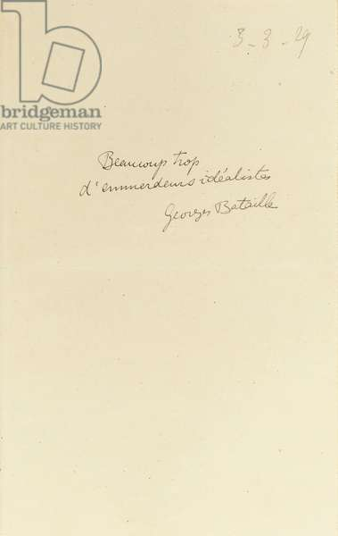 Autograph comment from 'The Complete Dossier of the Meeting of the Bar du Chateau', 3rd March, 1929 (pen & ink on paper) (see also 475036 to 475040)