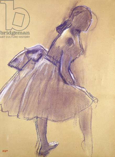 Dancer Standing, in Profile; Danseuse Debout, de Profil, c.1880 (pastel on tan paper laid down on board)