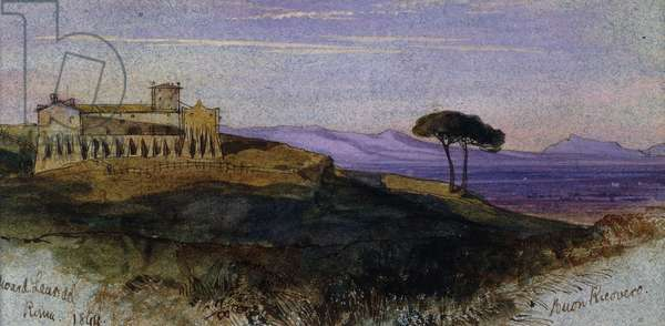 A View in the Roman Campagna, 1844 (watercolour, gouache, pen and brown ink on blue paper)
