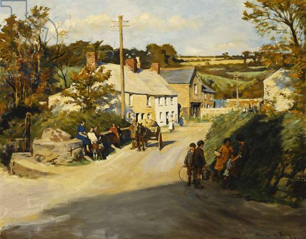 A Cornish Village, 1925 (oil on canvas)