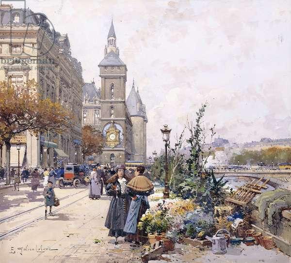 Le Quai aux Fleurs and Hotel,  (gouache on paper)