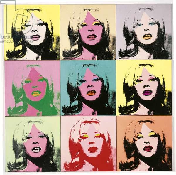 Holly Solomon, 9 panels, 1966 (acrylic, silkscreen ink & graphite on linen)