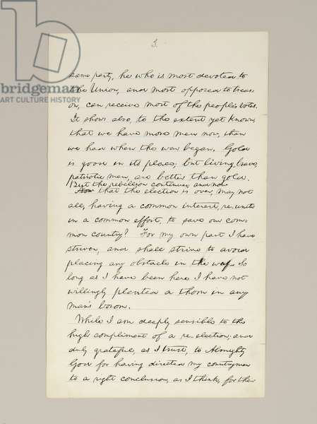 Autograph manuscript of Lincoln's election victory speech as President, delivered in Washington D.C., from the window of the White House on the evening of 10th November, 1864 (pen & ink on paper) (see also 489209-11)
