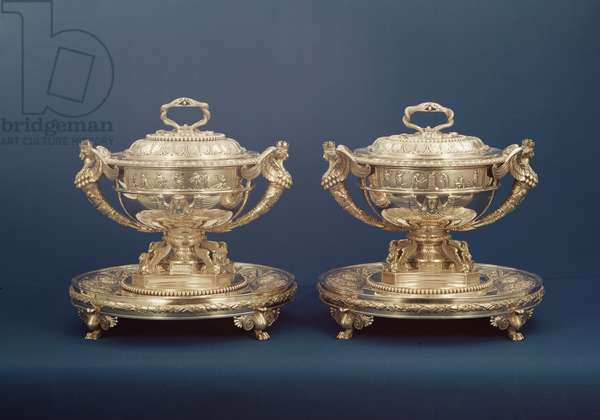 Two silver soup tureens by Paul Storr with Egyptian motifs, 1807
