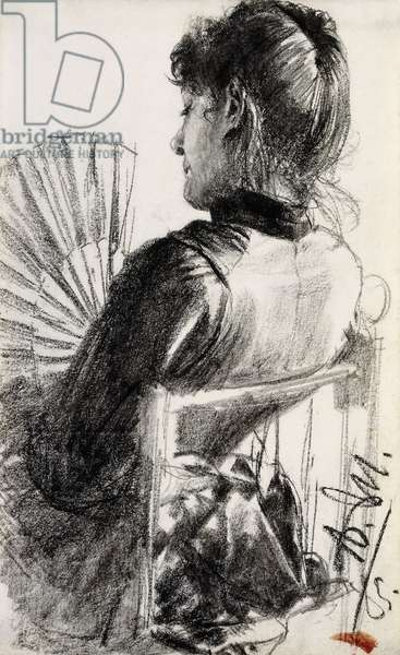Lady with a Fan, 1885 (pencil on paper laid down on board)