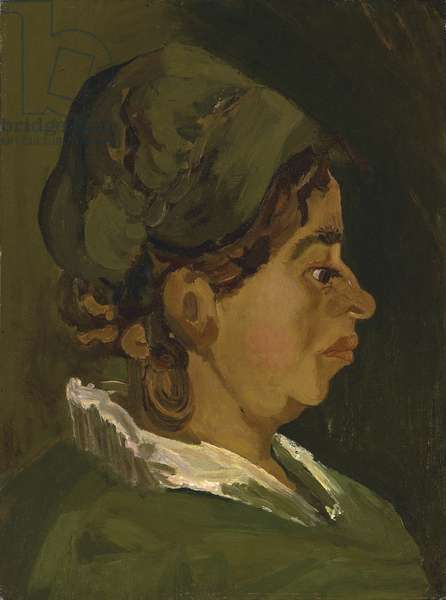 Head of a Peasant Woman: Right Profile, 1884 (oil on canvas laid down on panel)