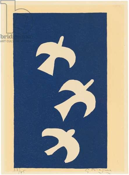 Trois Oiseaux sur Fond Bleu, 1955 (colour litho)