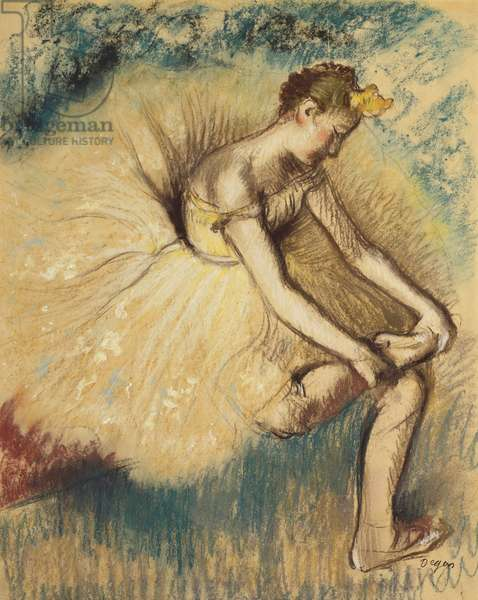 A Dancer Putting on her Shoe; Danseuse Attachant sa Chaussure, 1896 (pastel on paper)