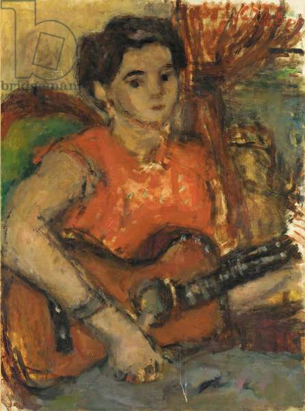 Woman with Guitar (oil on canvas)