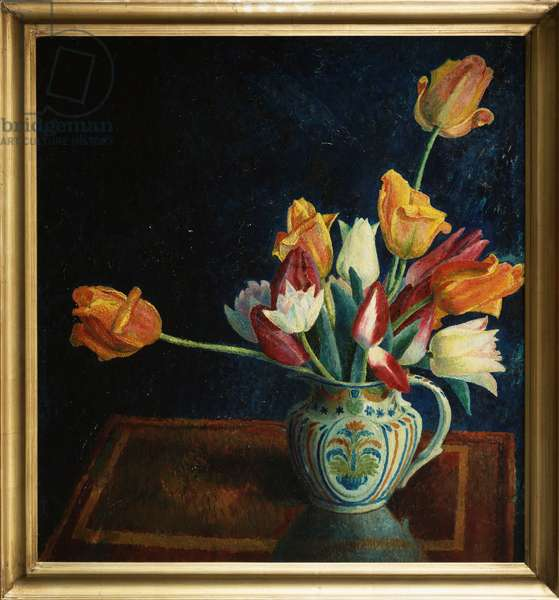 Tulips in a Staffordshire Jug (oil on canvas)
