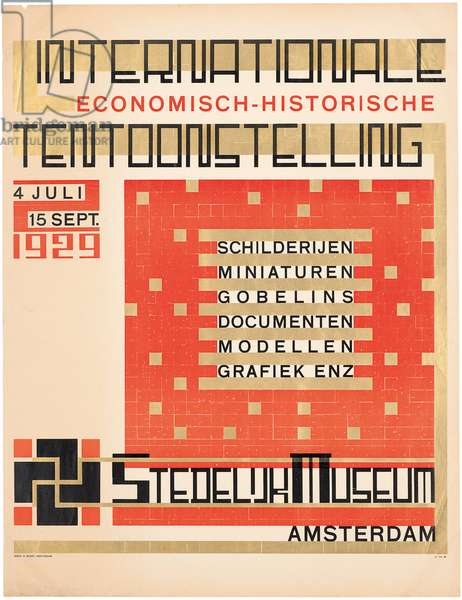 Poster advertising a 1929 'International Historical Economic' exhibition at the Stedelijk Museum in Amsterdam, 1929 (letterpress in black, red and gold)