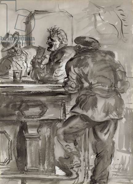 Bar Philosopher, 1944 (ink and wash on paper)
