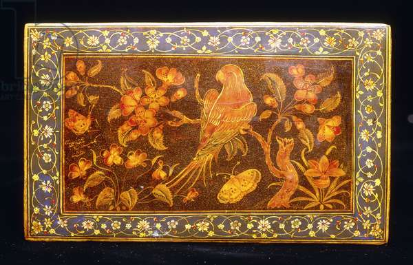 A Safavid dynasty lacquer bookcover depicting a parrot perching on the branch of an apple blossom (one of a pair), c.1659-1660 (lacquer bookcover, painted in colours and gold)