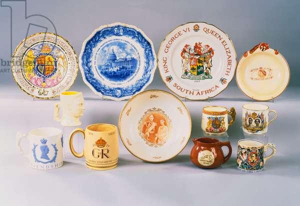 A selection of English ceramics relating to George VI (ceramic)