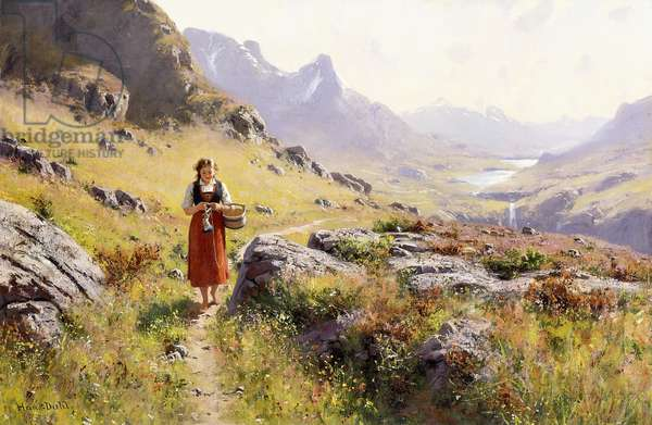 Knitting in a Norwegian Landscape,  (oil on canvas)