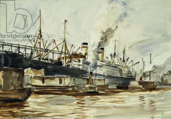 Dock Scene, (watercolour and pencil on paper)