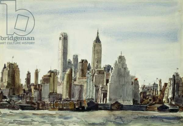 Cityscape, New York, 1931 (watercolour and pencil on paper)