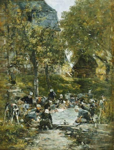 Washers on the Bank of the River; Laveuses au Bord de la Riviere, c.1877-1881 (oil on panel)