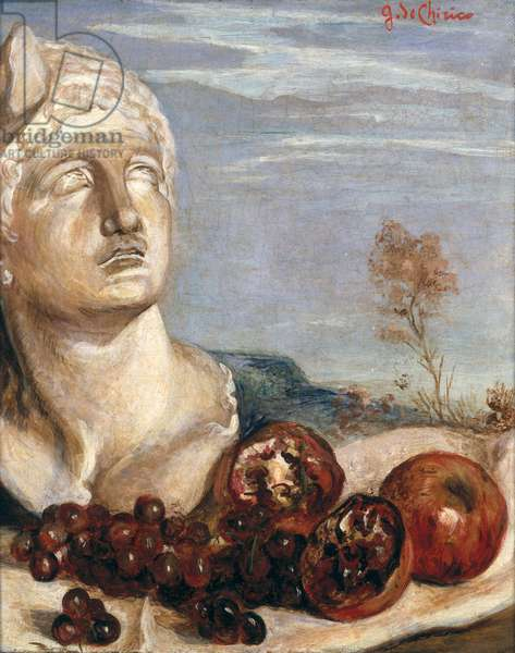 Still Life with a Classical Head (oil on canvas)