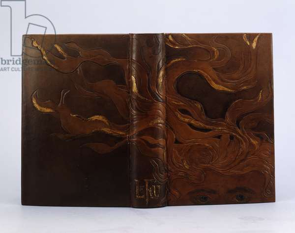 Book binding of 'Le Feu' by Gabriele D'Annunzio, published by Calmann-Levy (bound in incised leather with gold)