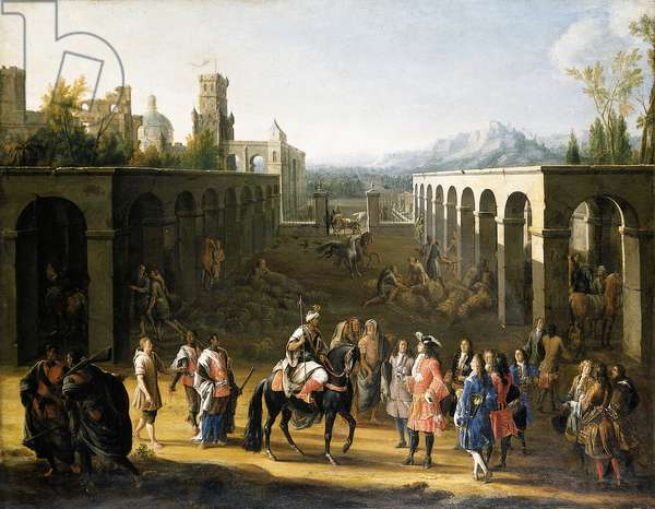 The reception of Francois Pidou de Saint Olon, Ambassador of King Louis XIV of France, by Sultan Moulay Ismael of Morocco on 19 June 1693 (oil on canvas)