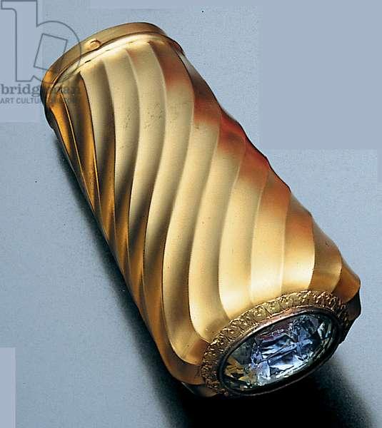 Parasol handle (aquamarine & gold)