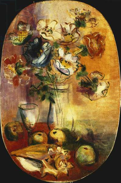 Still Life with Flowers and Apples; Nature Morte aux Fleurs et Pommes, (oil on canvas)