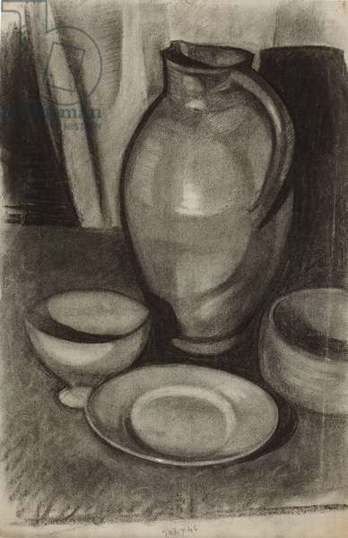Still Life with a Jug; Nature morte a la cruche, 1910 (charcoal with white heightening on paper)