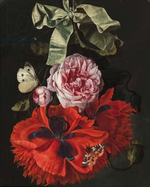 Roses and carnations hanging from a green ribbon with a moth and a butterfly (oil on panel)