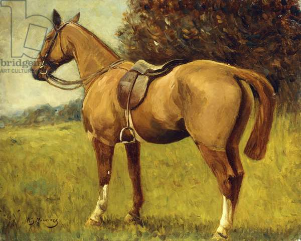 A Saddled Hunter in a Landscape,  (oil on canvas)