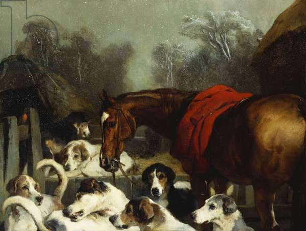 No Hunting Till the Weather Breaks (Or 'Hunter and Hounds') (oil on canvas)