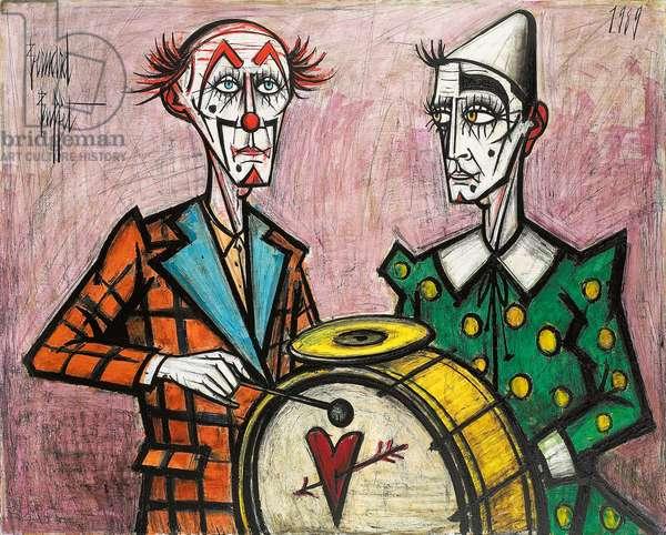 Two Clowns with a Drum; Deux clowns a la grosse caisse, 1989 (oil on canvas)