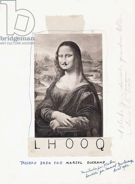 L.H.O.O.Q., 1920 & 1942 (pencil and ink on an engraving of Leonardo da Vinci's Mona Lisa)