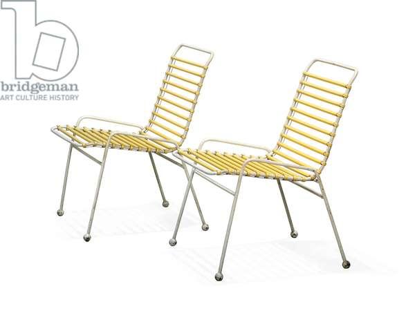 Pair of 'Springbok' chairs, 1951 (painted steel & plastic)