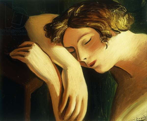 Woman Sleeping; Femme Dormee, (oil on canvas)