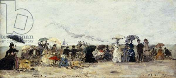 Trouville, Beach Scene; Trouville Scene de Plage, 1879 (oil on cradled panel)