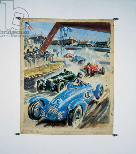 Le Mans 24 Hours 1949 - Talbot, Bentley & Ferrari, 1949 (w/c & gouache on paper)