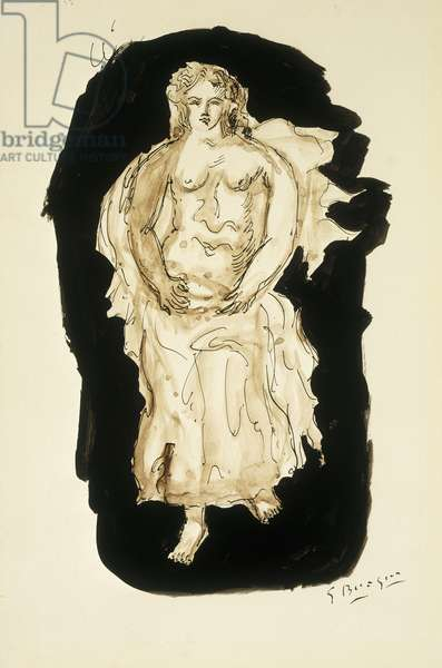 Female Nude; Femme Nue, c.1930 (pen and brush and India ink and watercolour on paper)