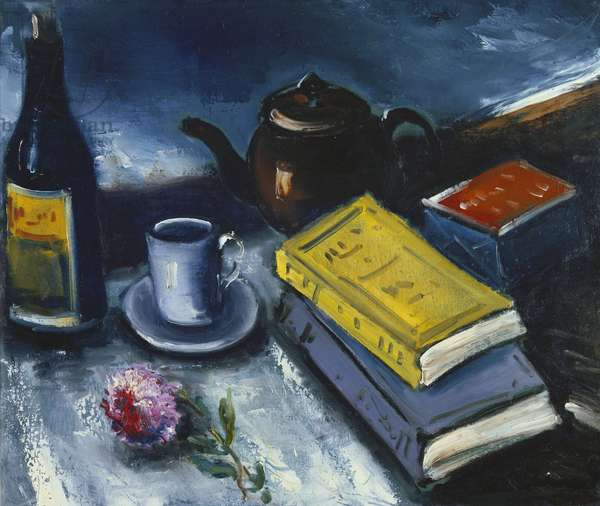 Still Life with Books; Nature Morte aux Livres, (oil on canvas)